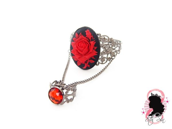 Gunmetal Black and Red Rose Bangle and Ring